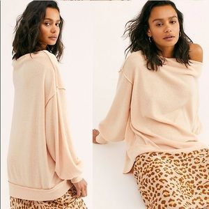 NWT Free People Main Squeeze Hacci Top in Nectar